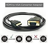 HDMI a VGA, Peotriol Active HDMI maschio a VGA maschio m/m audio video cavo convertitore adattatore supporto cavo Full 1080p da porta PC laptop HDTV HDMI a VGA monitor projector-6ft/1.8 m (nero)