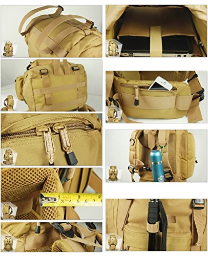 YAAGLE Bergsteigen Taschen Rucksack groß Fassungsvermögen Reisetasche Trekkingrucksack Camping ourdoor Gepäck Sporttasche Schultertasche army yellow