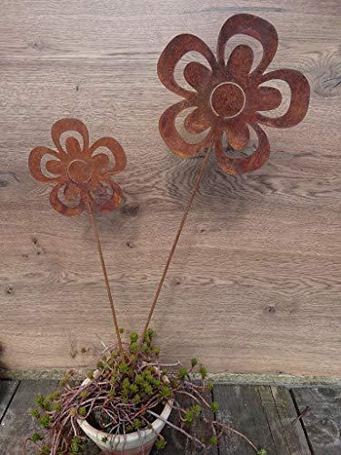 2 Edelrost Blumen offen auf Stab Gartenstecker - 2