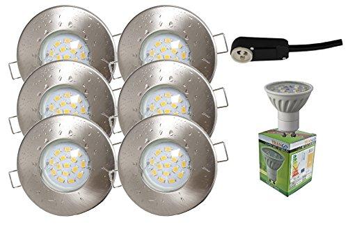 Trango 6er Set IP44 Einbaustrahler Nickel Matt Bad / Dusche / Sauna inkl. 6x 6,0 W GU10 LED Leuchtmittel 3000K w-weiß & Fassung Einbauleuchten Edelstahl lackiert rostfrei TG6729IP-062-6W