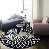 WW skandinavischen Fashion Schwarz und Bai Zirkular Teppich Wohnzimmer Couchtisch Teppich Schlafzimmer Studie Teppich, Diameter 120CM