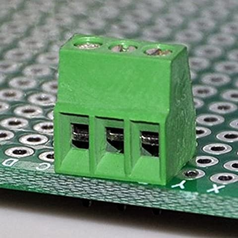 Electronics-Salon 10pcs 3 pôles Bornier à vis universel PCB de 2,54 mm / 0,1