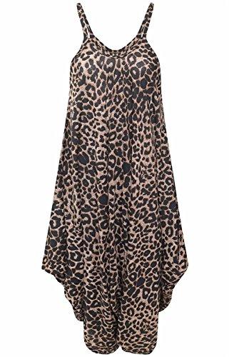 Islander Fashions Frauen �rmellos Riemchen gedruckt Lagenlook Strampler Jumpsuit Damen Phantasie Cami Baggy Harem Playsuit Kleid braun Leopard Medium/Large - Leoparden-strampler