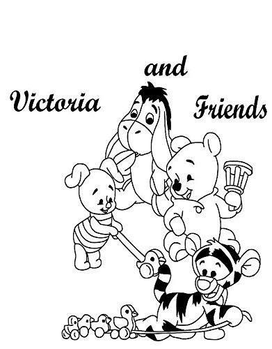 Winnie Puuh und Freunde Ferkel, I-Aah, Tigger, als Sie Babys personalisiert Wandtattoo für Kind Schlafzimmer, Kinderzimmer Wandtattoo Aufkleber. schwarz