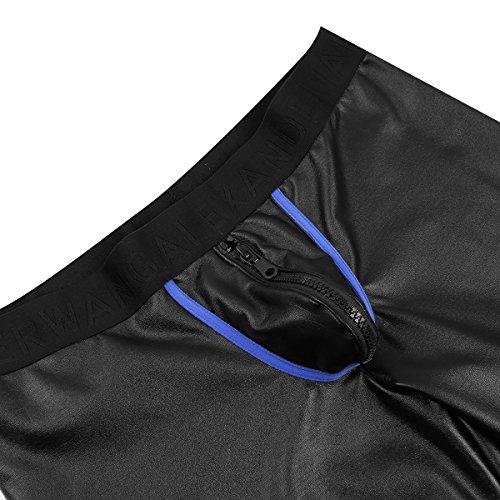 CHICTRY Herren Boxershorts Schwarz Leder Shorts Wetlook Hose Kurz Badehose Unterwäsche Unterhosen S M L XL XXL Schwarz & Blau