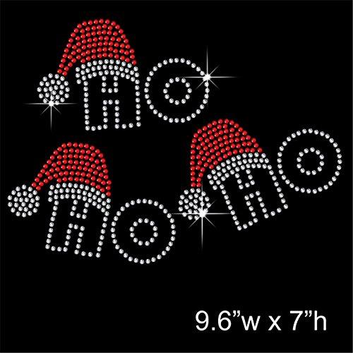 Weihnachten HO HO HO Hotfix Strass mit Eisen auf übertragen Motiv Aufnäher (Weihnachten Eisen Auf übertragung)