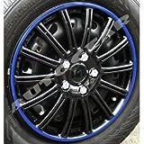"14"" inch SW Black Blue Ring Multi Spoke Design Car Wheel Trims Hub Cap Covers Set"