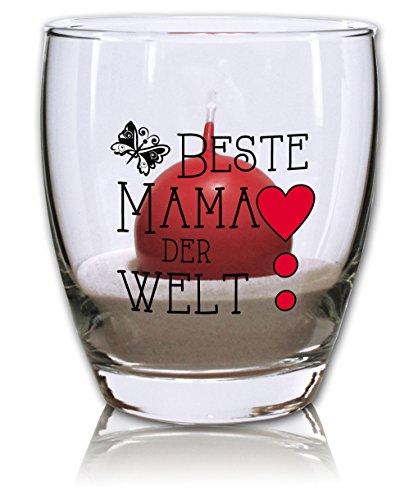 Windlicht mit Sand und Kerze rot - Beste Mama der Welt