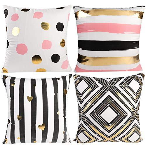 JOTOM Goldfolie Druck Kissenbezug, Kissenbezüge für Sofa Car Home Decor 45 x 45cm, 4er Set (Heißpräge-Geometrie) -