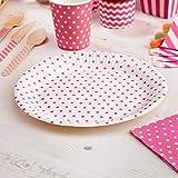 Pappteller Polka Dots pink 8 Stück - Einwegteller Hochzeit Partyteller Kindergeburtstag Punkte pink ca. 23 cm