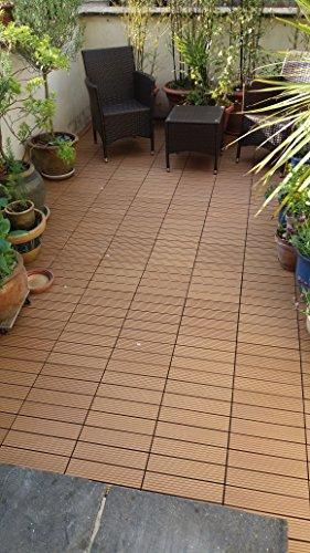 36piastrelle a incastro per pavimenti, in legno composito–teak a scatto per patio, giardino, balcone, vasca idromassaggio, con pannelli quadrati da 30 cm - 3