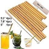 pailles en bambou biologique. réutilisable Bambous pailles Alternative au Plastique enfants pailles. Lot de 12 réutilisables pailles en bambou