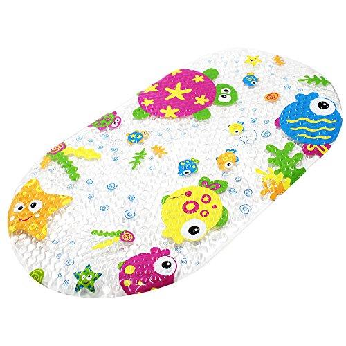 Topsky - Alfombrilla de baño antideslizante para niños con ventosas, diseño de dibujos animados impresos brillantes, para bañera, 39 x 69 cm (colorido océano)