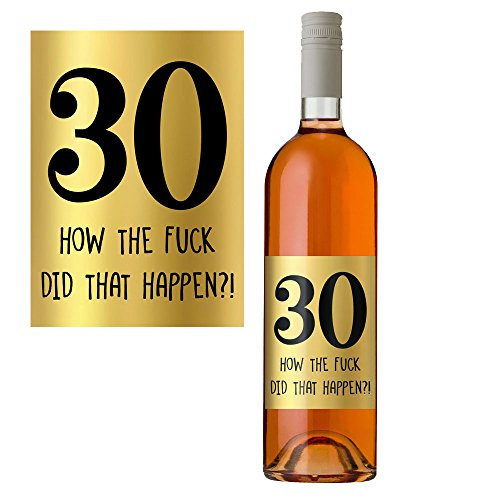 30th Birthday Wine Bottle Label in Metallic Gold