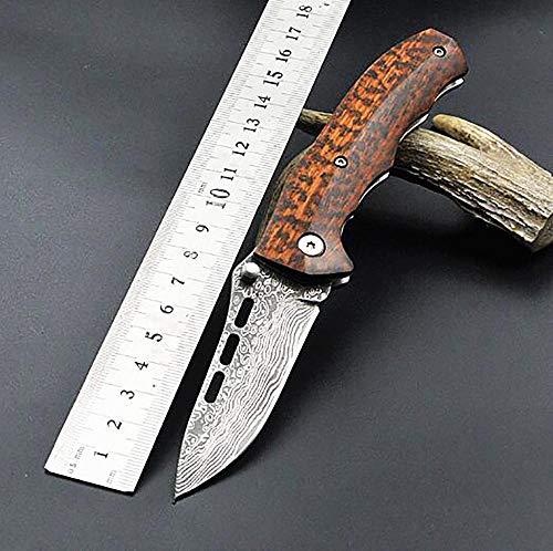 Ideaselection Outdoor Damastmesser damaskus Stahl Klinge Schlange holzgriff obstmesser Rettungsmesser Damascus Taschenmesser Klappmesser Multi Handwerkzeuge Pocket Knife EDC -