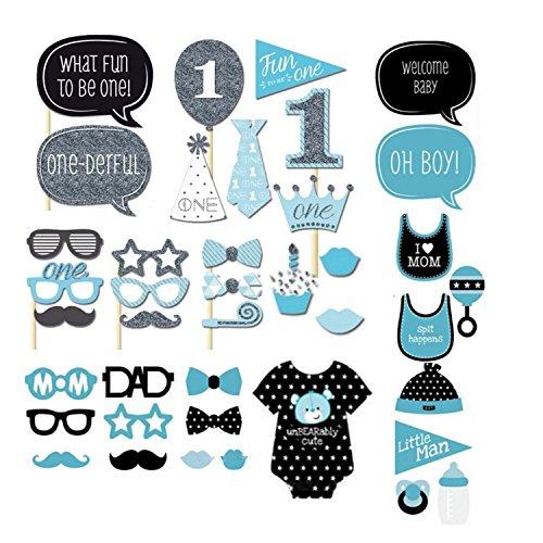40 Baby Duschen Fotorequisiten Flasche Baby Kind Dusche Woll Stick Favor Werkzeuge Brett Masken Prop Karten