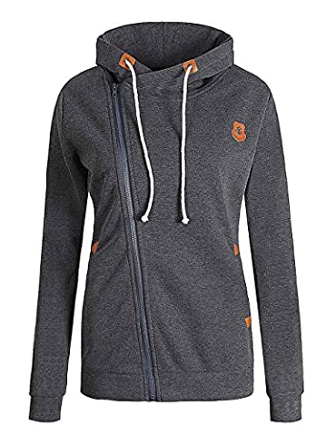 ELFIN® Femme Manteau Veste à Capuche Hoodie Sport Sweat shirt Casual Zip Jumper Sport Hauts Tops Sweatshirt