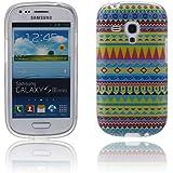 tinxi® Design Schutzhülle für Samsung Galaxy S3 Mini i8190 Hülle TPU Silikon Rückschale Schutz Hülle Silicon Case Cover mit ethnischem Stil Indian Streifen Tribal Muster