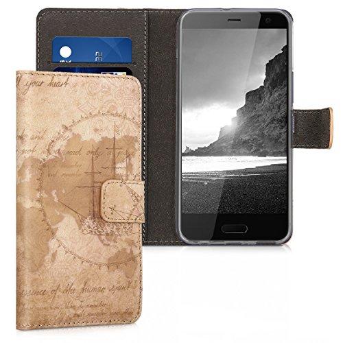 kwmobile HTC U11 Life Hülle - Kunstleder Wallet Case für HTC U11 Life mit Kartenfächern & Stand - Travel Vintage Design Braun Hellbraun