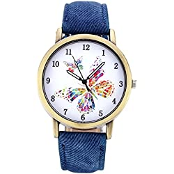 JSDDE Unisex Retro Bronze Case Colorful Butterfly Dial Blue Canvas Veins PU Leather Band Watch