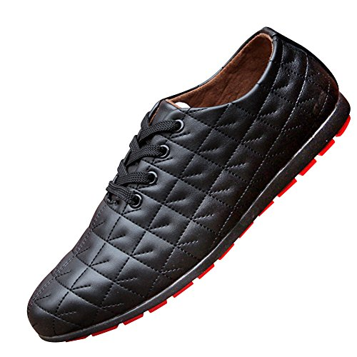 XiaoYouYu lacets Sneakers Basses homme en Faux cuir Noir