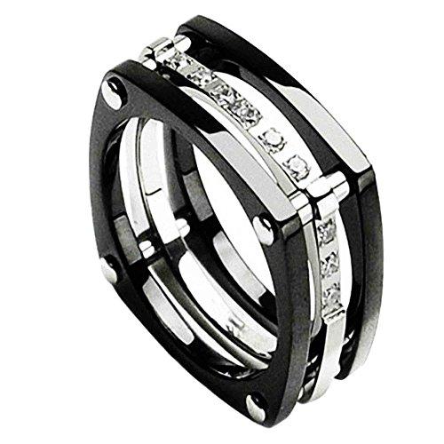 Piersando Ring Titan Bicolor mit Zirkonia Steinen 3-teilig Viereckig 11mm Breit Titanring Herren und Damen Silber Schwarz Größe 72 (22.9) (Sets Ring Ihn Wedding Black)