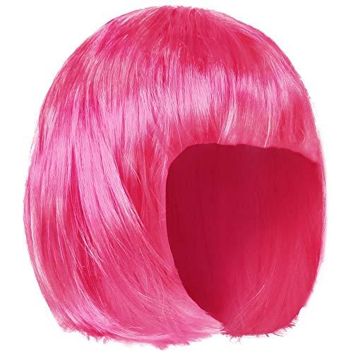 (Ciffre Fasching Masken Perücken Damen Sexy - Kurzhaar Perücke Glatt - Bob Knall Neon Pink)