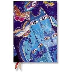 Paperblanks–Laurel Burch Gatos en azul con mariposas–Calendario 2018Midi Semana Vista General Horizontal–deutschsprachige salida
