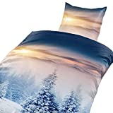Niceprice Winter Bettwäsche Flausch Fleece Winterhills, 2X 135x200 + 2X 80x80 Fotodruck Wendebettwäsche