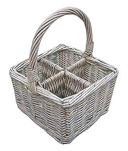 Cutlery/Remote Control/Divided Basket - Grey Wash Wicker