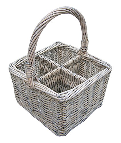 Cutlery/Remote Control/Divided Basket - Grey Wash Wicker
