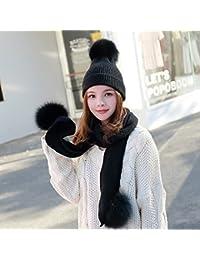LIANGJUN Invierno De Punto Bufanda Gorra Sombrero Mujer Calentar Set De 2  Piezas Esquí Deportes Al 085a2a2214a