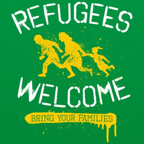 Spreadshirt Refugees Welcome Stoffbeutel Kelly Green