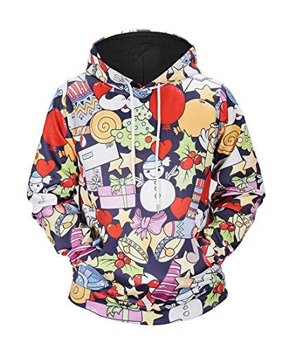 Honeystore Herren Damen 3D Druck Sweatshirts Weihnachten Pullover mit Aufdruck Herbst Hemd Kapuzenpullover Langarm Top Jumper Shirt Weihnachtsgeschenk L