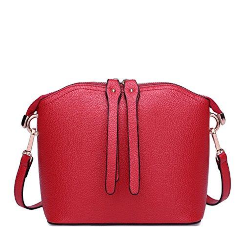 Borse borsa a tracolla in poliuretano borsa a tracolla con borsa a tracolla in ecopelliccia borsa femminile (colore : red)