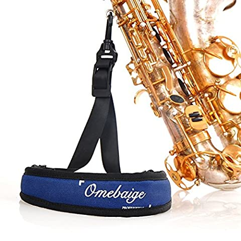 Alto/Tenor/Soprano Saxophone Blue Padded Strap with Swivel Snap Hook 22in