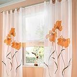 Souarts Orange Stickerei Transparent Gardine Vorhang Schlaufenschal Deko für Wohnzimmer Schlafzimmer Studierzimmer 150cmx245cm 1St