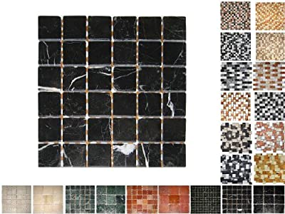 1Netz Marmor Mosaik Nero 48x48 von Mosaikdiscount24 Gmbh - TapetenShop