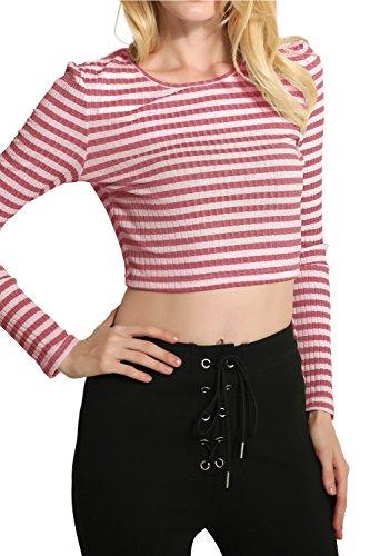 Manches longues couleur Pinstripe femmes exposés nombril Blouse Tops red