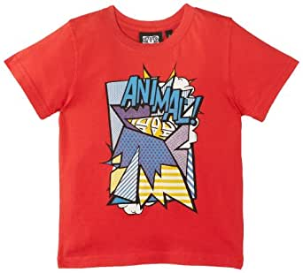 Animal Boy's Holted T-Shirt, Red (Poppy), 3/4 Years