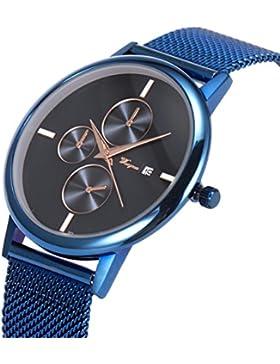 SIBOSUN Armbanduhr Blau Mesh Edelstahl Band ultra-dünnen Datum Kalender minimalistisches japanische Männer Japanese...