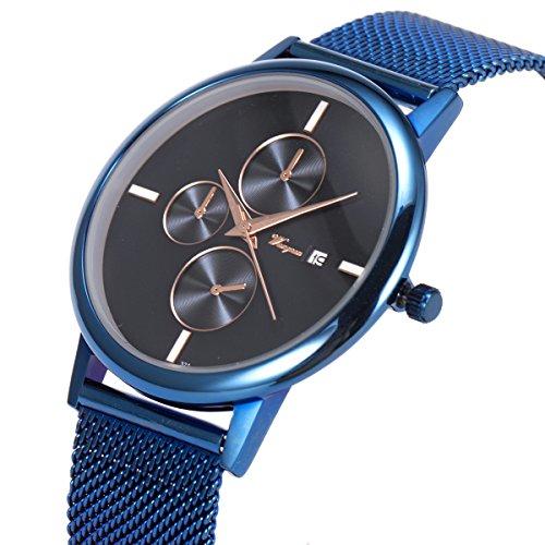 SIBOSUN Armbanduhr Blau Mesh Edelstahl Band ultra-dünnen Datum Kalender minimalistisches japanische Männer Japanese Quarzwerk - Datum Halloween Das Wirkliche Von