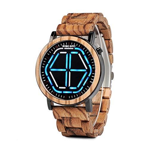 YSCCSY Herrenuhr Holz LED Mode Lässig Männer Holztisch Digitale Elektronische Uhr Für Groomsmen Geschenk Mit Box (Blau) -