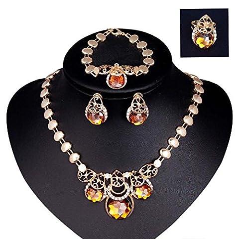 Damen Frauen Tropfen Schmuck Set Übertrieben Kreis Strass Halskette Armband Ring Ohrringe Set Ziakonia Gelb