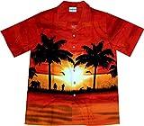 Hawaiihemd / Hawaii Hemd Sun of Hawaii / 100 Prozent Baumwolle / Palmen / Sonnenuntergang- Größe XXL, Rot