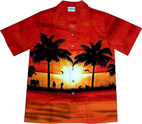 Hawaiihemd / Hawaii Hemd Sun of Hawaii / 100 Prozent Baumwolle / Palmen / Sonnenuntergang- Größe M, (Dem Männer Unter Meer Kostüme)