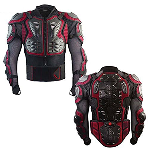 POSSBAY XL Motorradjacke Protektorenjacke Brustpanzer Ski Snowboard Motocross Quad BMX Protektoren Jacke Rot (Bmx-brustschutz)