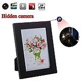 Favourall Bilderrahmen Mini Nanny Spy 1280x1024 Spion Kamera Fotorahmen Versteckt Spycam Bilderrahmen mit Bewegungserkennung-Schwarz