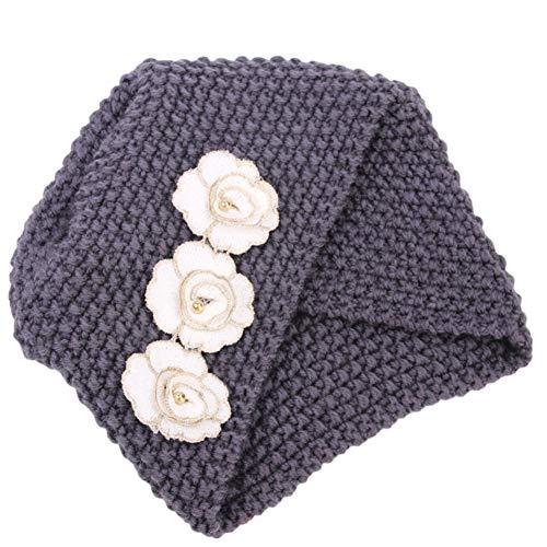 Amorar Damen Mode Wolle Blumen Hut, handgemachte gestrickte indische Kopftuch Mütze häkeln Baskenmütze Hut Winter Zubehör,EINWEG Verpackung