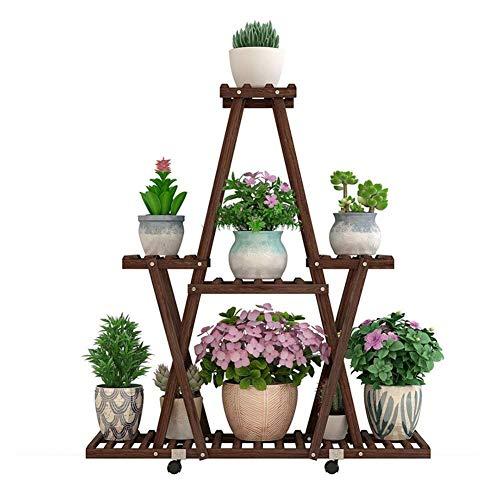 7r 7 (Cxmm Blumentopfständer Pflanzenständer Blumenregalständer Blumentopfständer Bodenstehender Holzbalkon für den Außenbereich Sukkulenten-Rollenrad Mehrreihiger natürlicher Blumenständer (Farbe: 7-r)